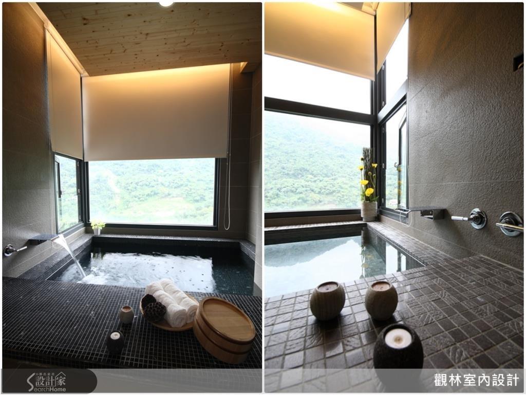 浴室使用降板浴缸不會阻礙景觀欣賞,與美麗的景色相伴,泡湯時更加減壓、療癒。