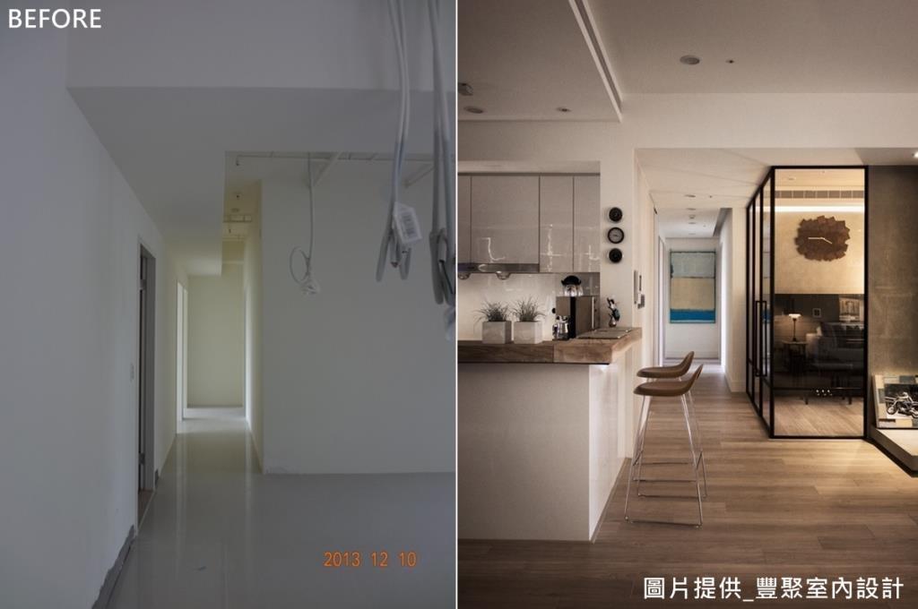 廚房與客廳之間原有一面牆,最後把牆面拆除,打造成開放式廚房。