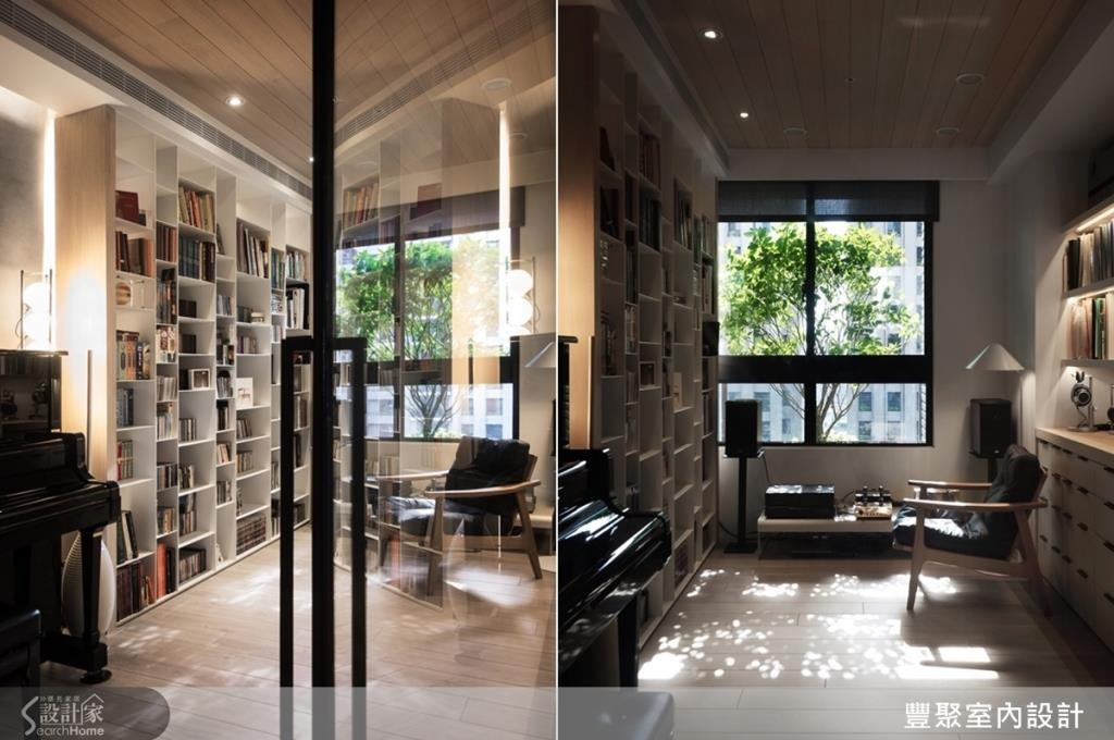 書房採鐵件書櫃,深具線條俐落感,並因材質具輕薄感,所以讓屋主擁有更多可收放書籍 CD 的空間;且不刻意定義書房格局,不配置書桌,讓空間更寬敞具彈性,無論是練琴、聽音樂、閱讀、冥想,都可在此進行。