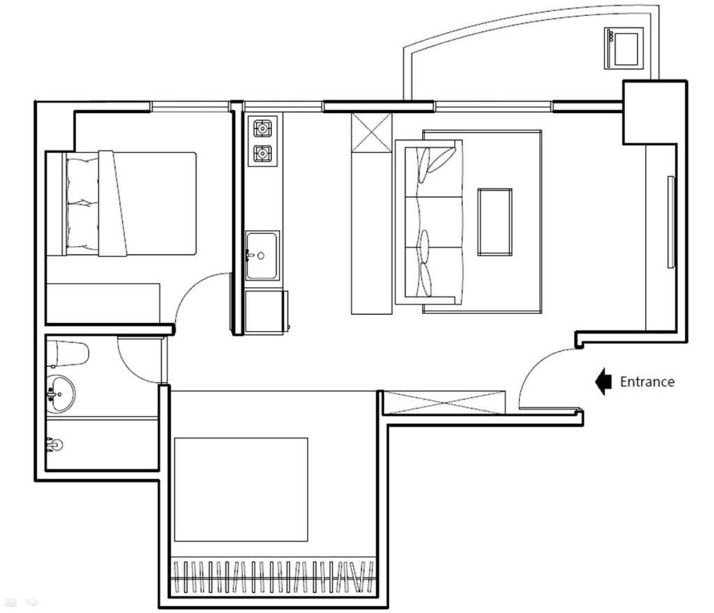 Before 平面圖: 原屋案雖然採用開放式空間,但因為主臥室佔據了廚房後方的區域,視覺景深被截斷而無法延伸,再加上大門入口正對廁所門,在風水上也是大忌諱。