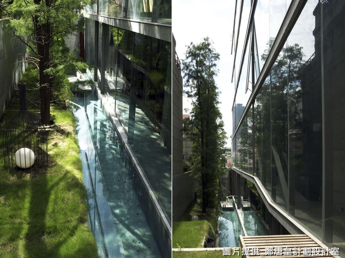延伸往上,設計師用「都會人心中缺乏的那塊綠」概念,設計狹長狀綠色草坪,成為散步的步道,充滿放鬆紓壓的氣息。