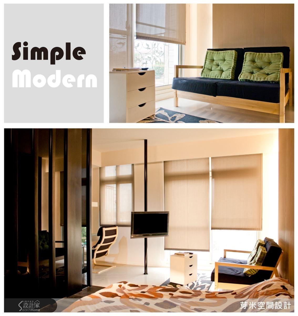 這個空間給人閑適舒服的感覺,落地窗前的簡單雙人椅自有一份悠哉(上圖);最獨特的焦點莫過於獨立懸掛的電視柱(下圖),讓空間視覺得以延伸、無壓迫感,床尾屏風選用實木板與茶鏡交互呈現,簡約又有質感。
