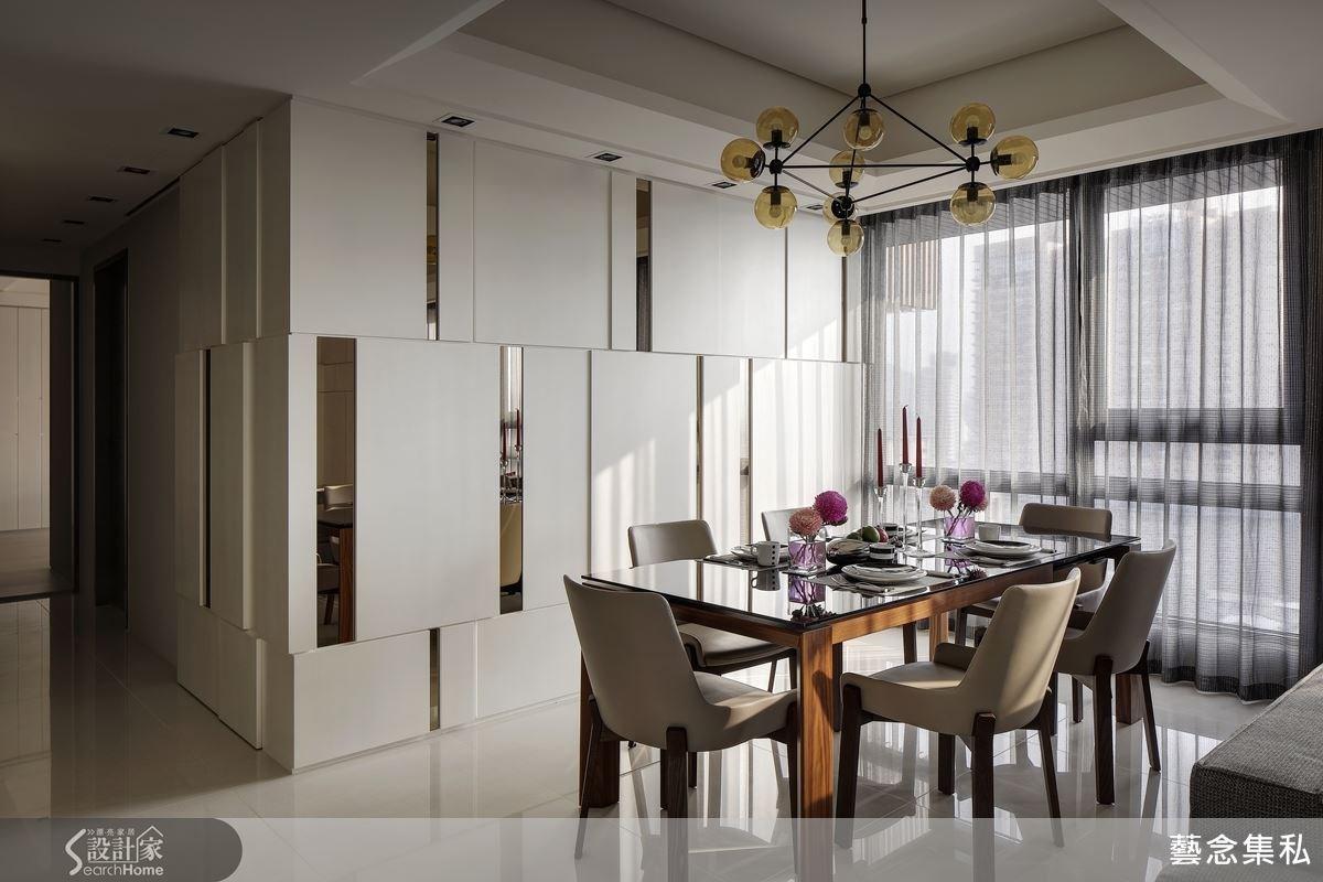 白天的餐廳呈現一種都會的現代感,白淨的空間與自然光的搭配,簡約而典雅的空間規劃。