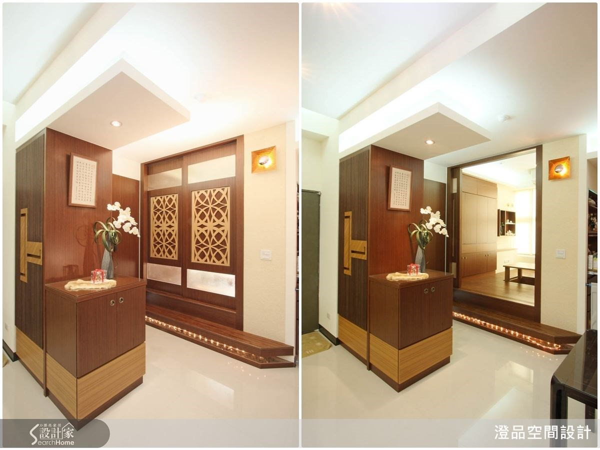 和室空間以拉門作為區隔,優美的門片花紋更為空間造就一幅美好的藝術端景。