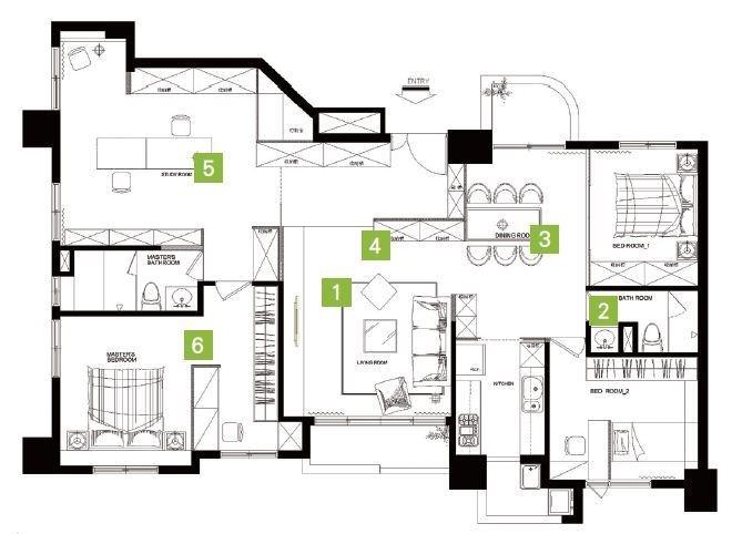 從平面圖上,即可清楚發現空間層次相當流暢。中間區域規劃為玄關( 4 )與客廳( 1 );客廳沙發背牆後方的區域則為餐廳( 3 )、廚房、兩間次臥及客浴( 2 );客廳電視牆後方的區域則為工作室( 5 )與主臥室( 6 )