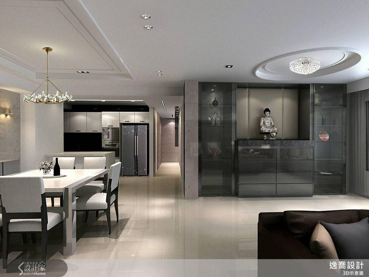 傳統的佛堂設計充分發揮現代風的精神,結合了展示櫃的設計,讓石材與鏡面互相搭配,展現低調奢華的大宅氛圍。