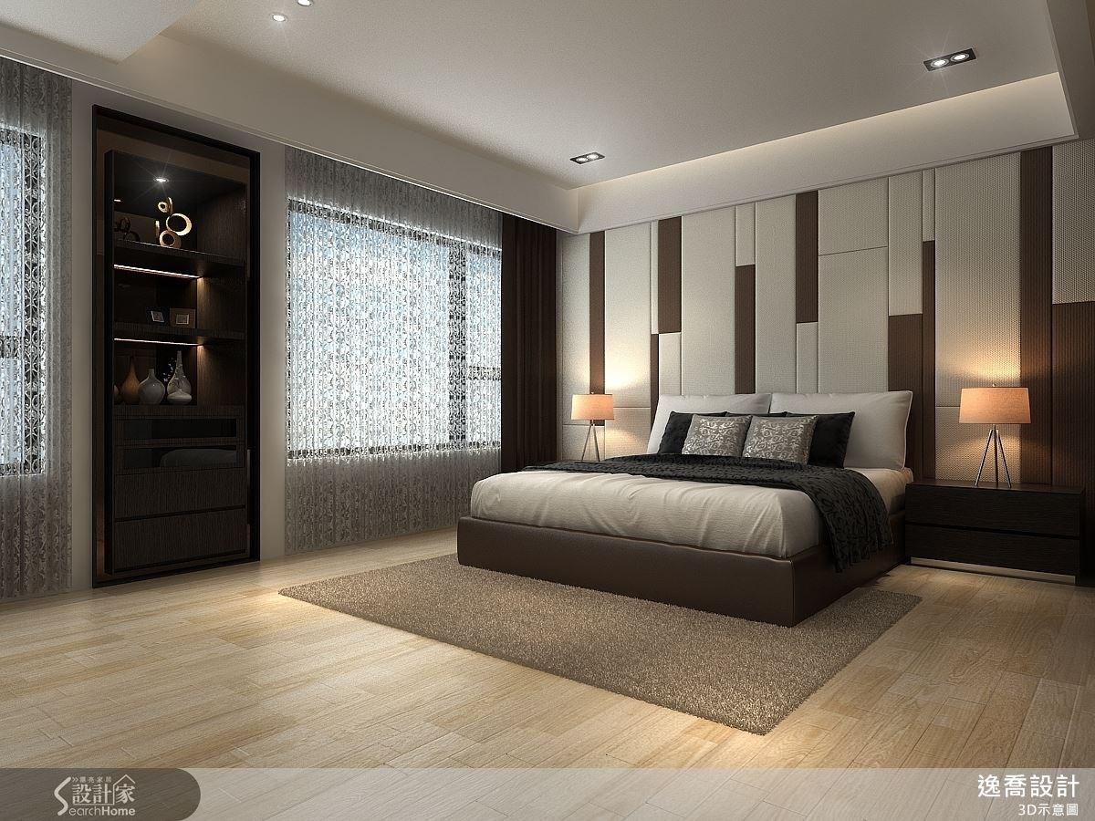 主臥房靠窗的牆面原先是一塊畸零地,設計師將它規劃成展示櫃,讓空間變得更具質感。