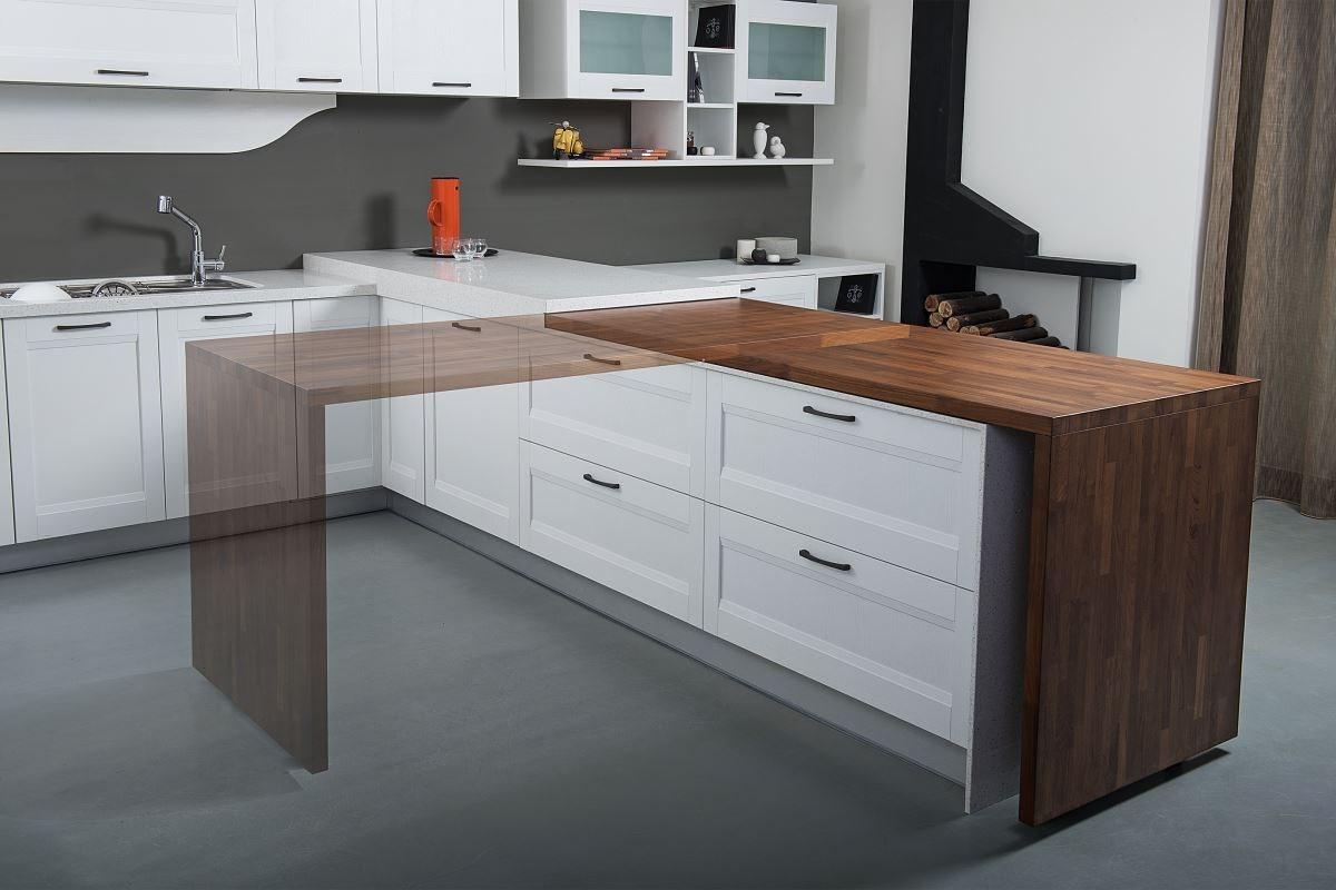 拉菲系列以中島吧檯結合可迴轉的集成材木桌,讓空間利用更靈活。
