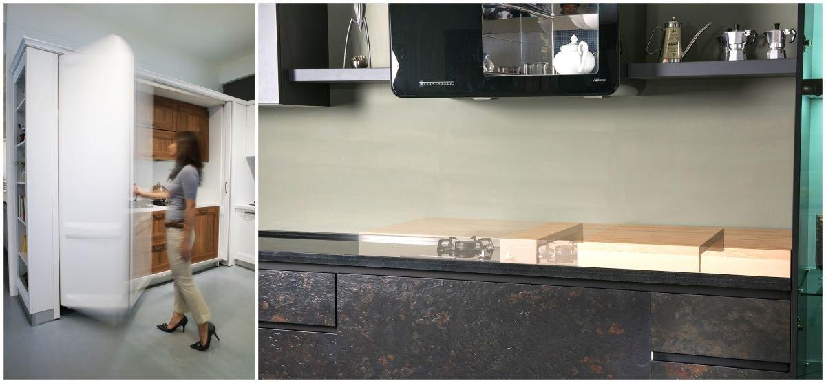 拉菲系列把現代化廚具設備藏在可收折的美型門片中,讓料理區可完全隱藏;活動砧板的設計,可延伸料理區檯面,更可將爐台隱藏於無形。