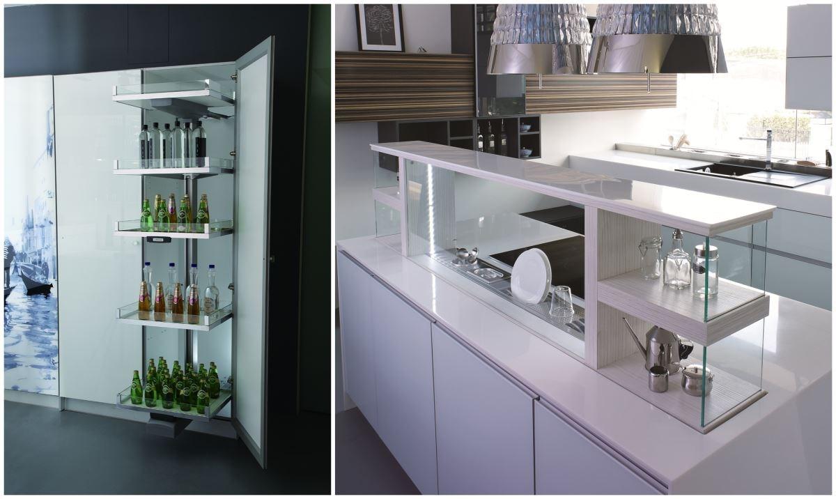 采鑽系列利用電動玻璃拉架高櫃、電動升降調味架等微動科技技術,結合實用收納設計,讓廚房的使用變得更輕鬆便利。
