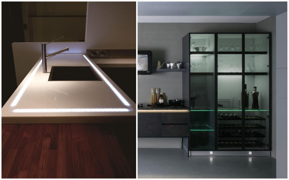 在廚具設計中,善用可回收的鋁框、玻璃,及節能省電的 LED 燈,為地球永續利用盡一分心力。