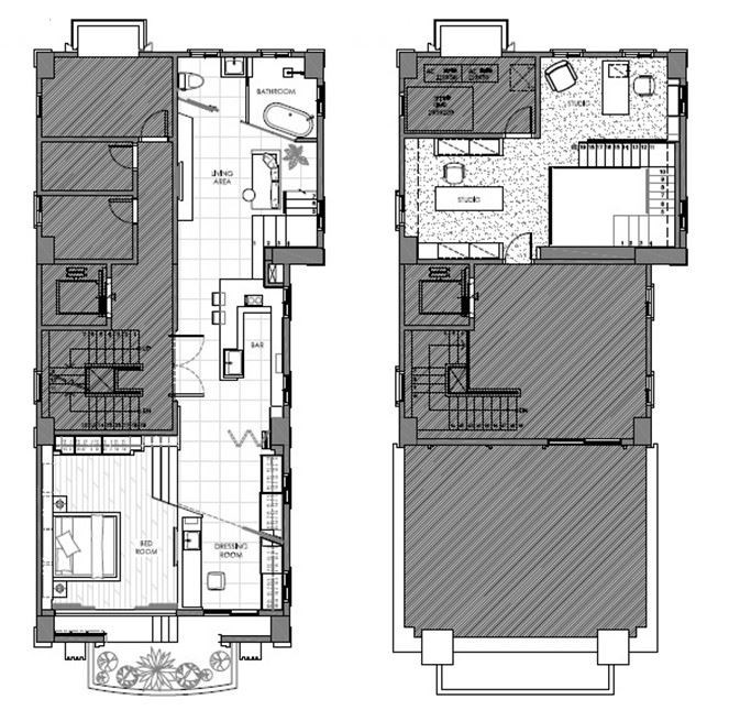(左:AFTER /右:BEFORE )公共空間採用開放式設計,為了放大客廳電視牆的面積,浴室的隔間牆以傾斜的方式呈現,並延伸到臥室的天花板,具有放大空間的效果,創造寬敞開闊的空間感。平面提供_禾睿設計