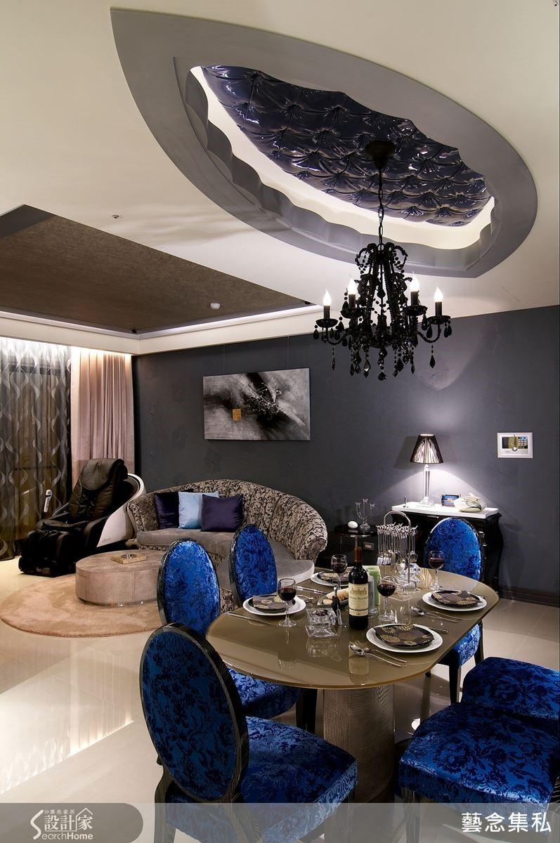使用寶藍色珍珠光澤漆皮,天花更以施華洛世奇水晶為鉚釘,呈現出經典品牌的菱格紋,有如夜空星光放閃。設計師大膽採用黑色水晶吊燈,形塑獨特品味。