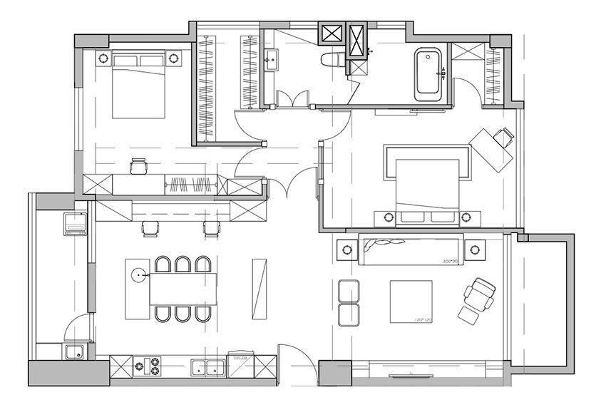 對照裝修前後的平面圖,可發現原本 4 小房的格局調整為 2 大房,不但各房間的空間變大,多餘的房間也讓出成為寬敞的餐廚空間以及實用的更衣室,而且公私領域也獲得更清楚的區分。平面圖提供_思嘉創意設計