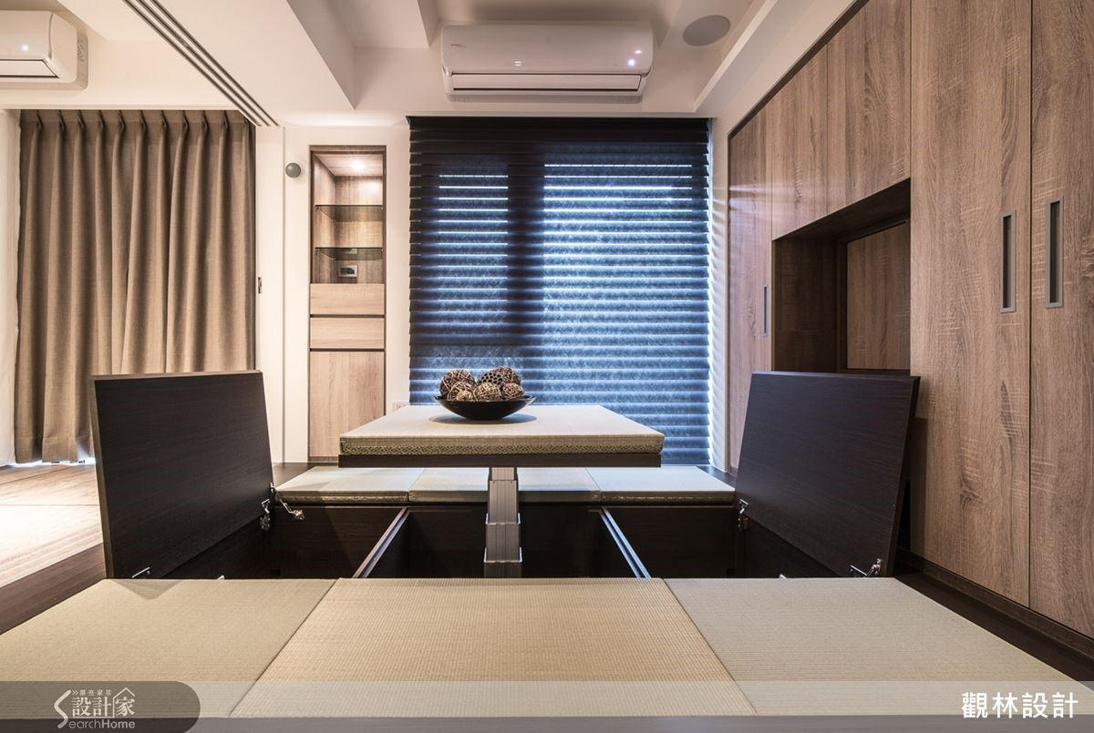 隱含升降和室桌的設計讓室內空間與日式建築的風格呼應。