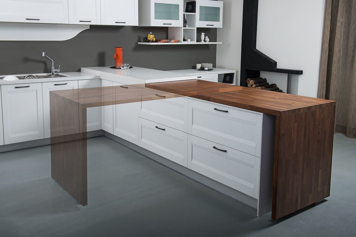 滿足複合機能的拉菲集成材迴轉桌與中島吧檯結合,讓廚房兼具餐廳機能,不僅滿足複合使用的需求,同時也讓廚房與起居室融合。