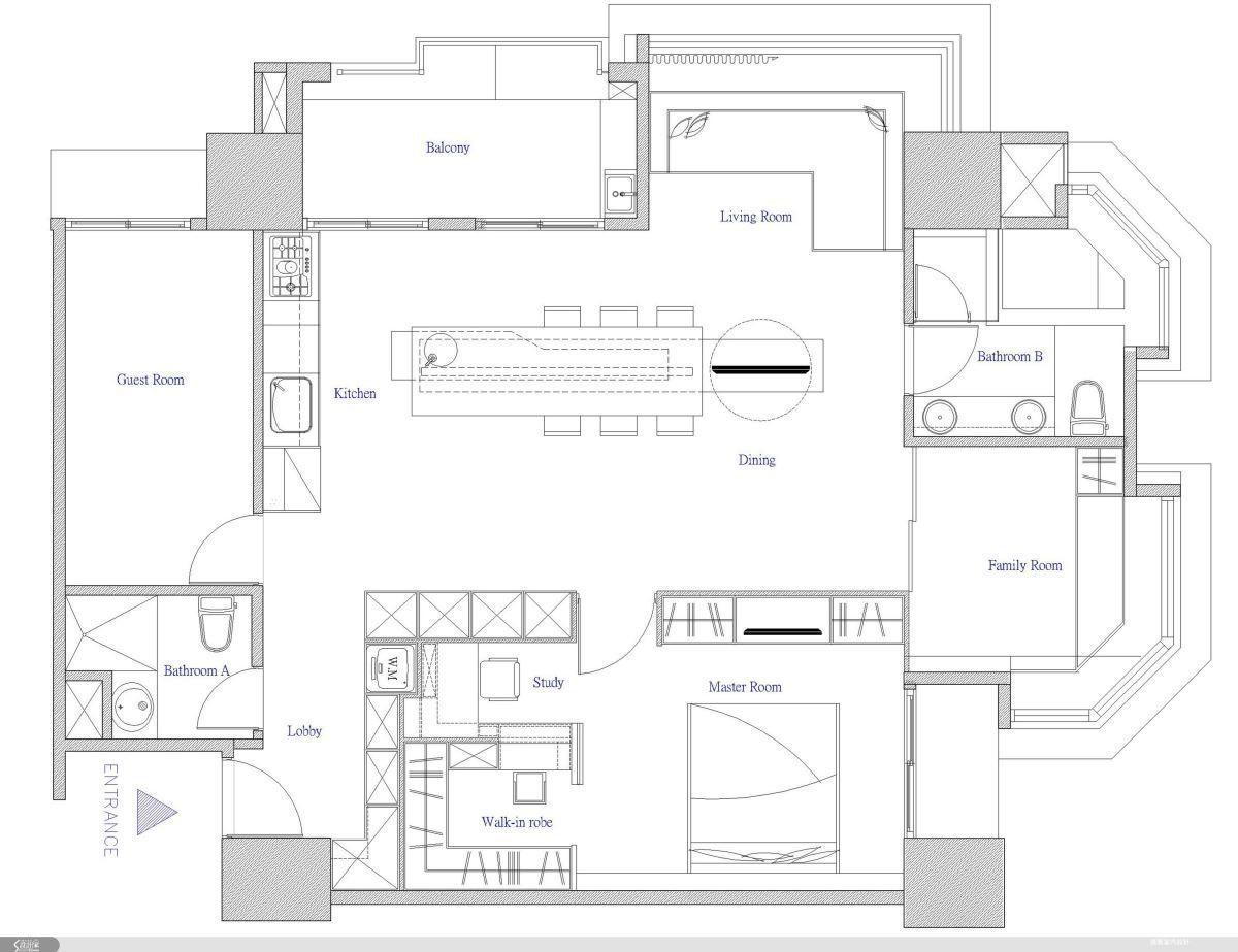 空間核心中段地帶以開放式的餐廚區域大大打開了整體視野,傳統的「客廳」元素被解構至新的空間形態裡:電視設備與餐桌結合,而且還可以 360 度靈活旋轉,沙發則成為窗邊慵懶曬太陽的最佳場所。平面圖提供_逸喬設計