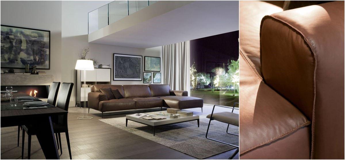 2015 年夏圖新款沙發 Pusiano,以少見的外翻式車縫,展現粗獷、細膩並陳的義大利工匠技藝與手感設計;在設計與舒適度上以些許變化,讓整體質感更加升級。