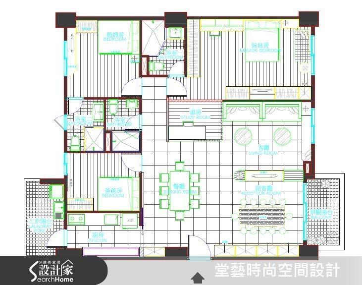 將原有的 4 房 2 廳改為 3 房 3 廳,更切合屋主的需求。平面圖片提供_堂藝時尚空間設計