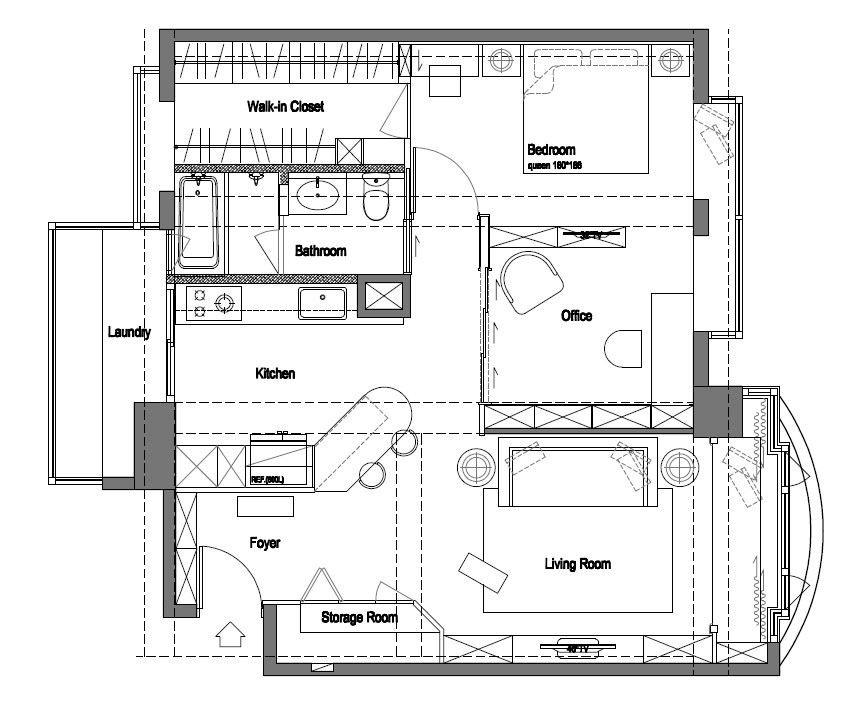 20 坪左右的小巧居家,吳總監以總統套房等級規格重新構思規劃,創造寬敞明亮的大客廳,更為屋主量身訂作出理想的開放式廚房、工作書房、臥室及更衣室。平面圖片提供_尚展空間設計