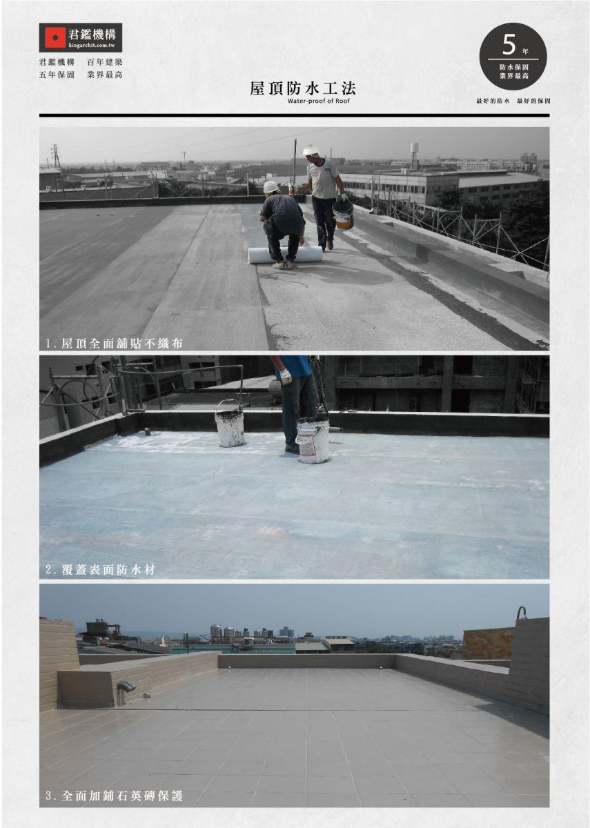 君鑑機構防水工法(屋頂)示意圖。
