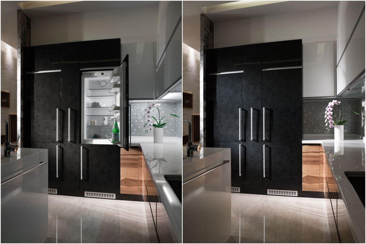 對花細緻嚴謹的白橡實木整體廚具加上鋼琴烤漆,高雅潔淨。葡萄藤黑加鋼琴烤漆的沉穩質感,將兩座裝門冰箱作完整包覆,中間以食品儲物櫃(俗稱:大怪獸)做區隔,視覺完整度 100%。