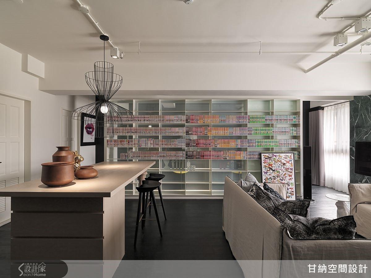 藉由開放式的書牆設計,讓整個居家空間如同一間舒適的大閱覽室。
