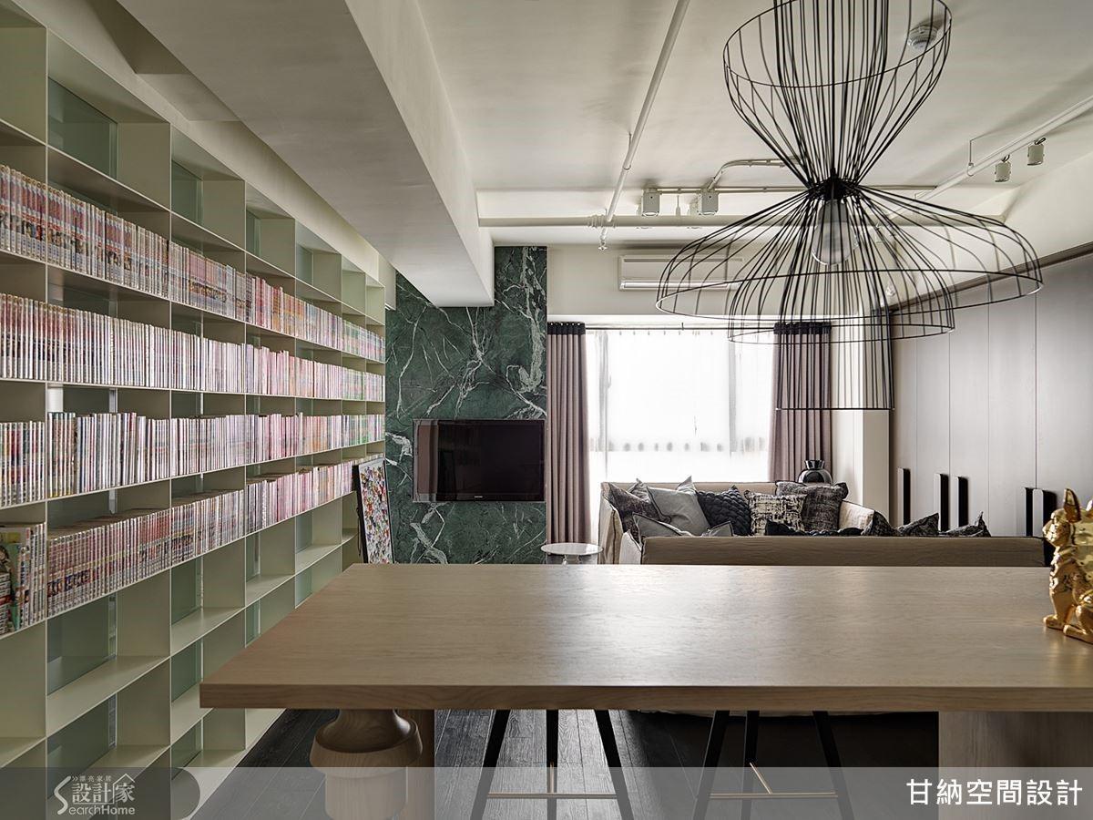 餐桌主燈經過精心挑選,極具現代藝術感的細膩黑色線條勾勒出獨特美感張力。