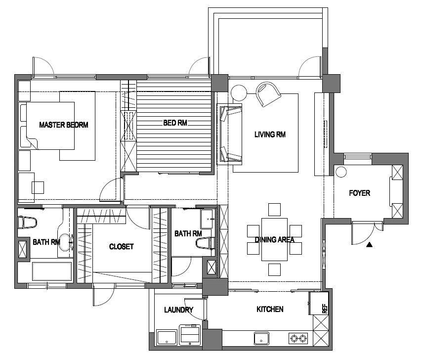 40 坪的居家空間以屋主劉媽媽的居住需求量身規劃,除了寬敞可供三代同堂共享天倫之樂的客餐廳及和室等公共區域,私人區域的規劃如主臥、更衣室、衛浴空間等也相當完整舒適。平面圖片提供_尚展空間設計