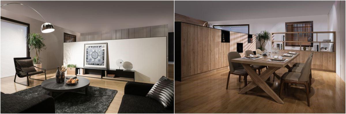 左圖為客廳的電視牆面,以藝品為主角;右圖的餐廳空間具備機能性十足的餐具兼展示櫃。