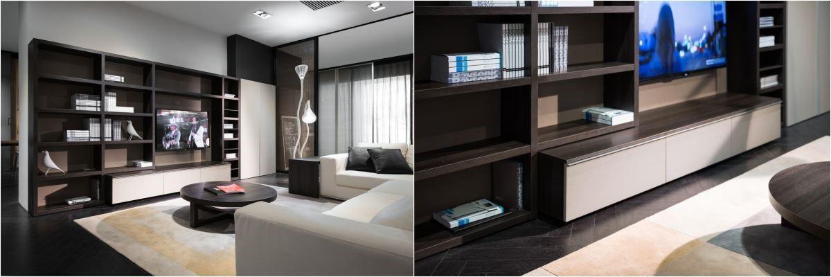 以深色高原橡木為主色的電視櫃,大量收納空間以及具有層次的組合方式,加上低明度的白色櫃板做平衡,與沙發相呼應,讓櫃體顯得更有整體感,收納展示的功能也一應聚全。