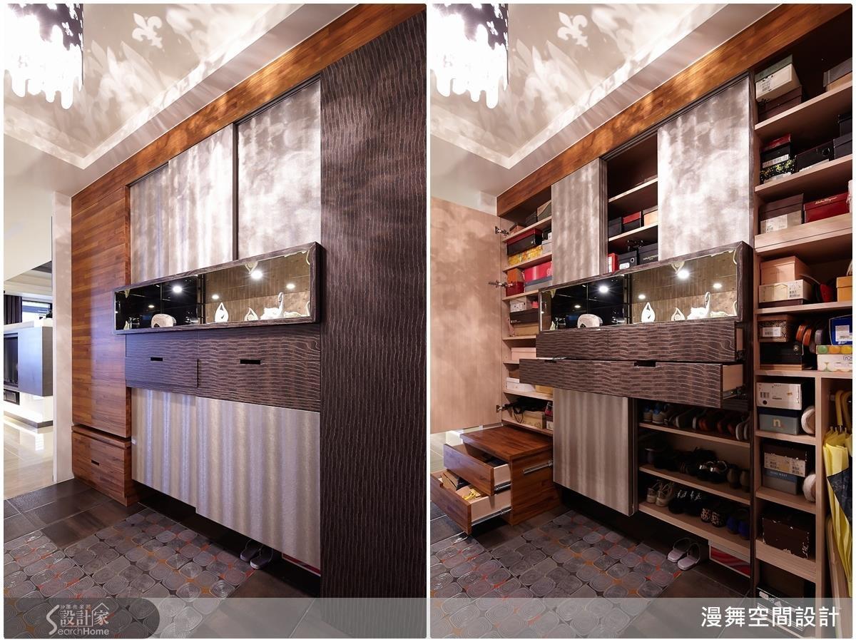 鞋櫃不只要有大容量,還要有美型的設計,才能襯托出優雅的氣質!(看本案例更多精彩設計:漫舞_23_台北中山區)