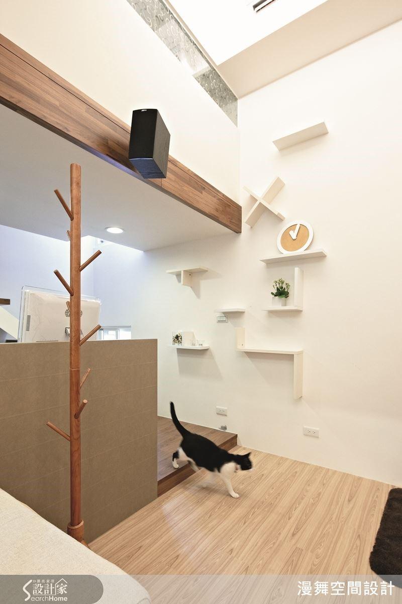 例如:本案在牆面上打造出富有趣味造型的層板設計,不但可以作為貓跳台使用,未來若是沒有繼續養貓,也可以當作擺設裝飾或書籍的展示層架,功能多多。