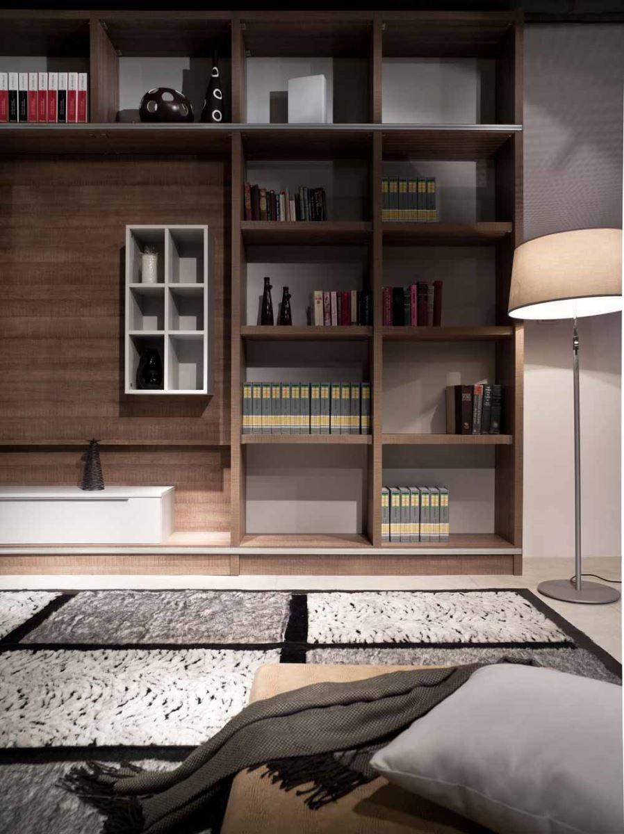 格狀電視櫃,收納機能滿分,與深淺相間的地墊相互呼應。