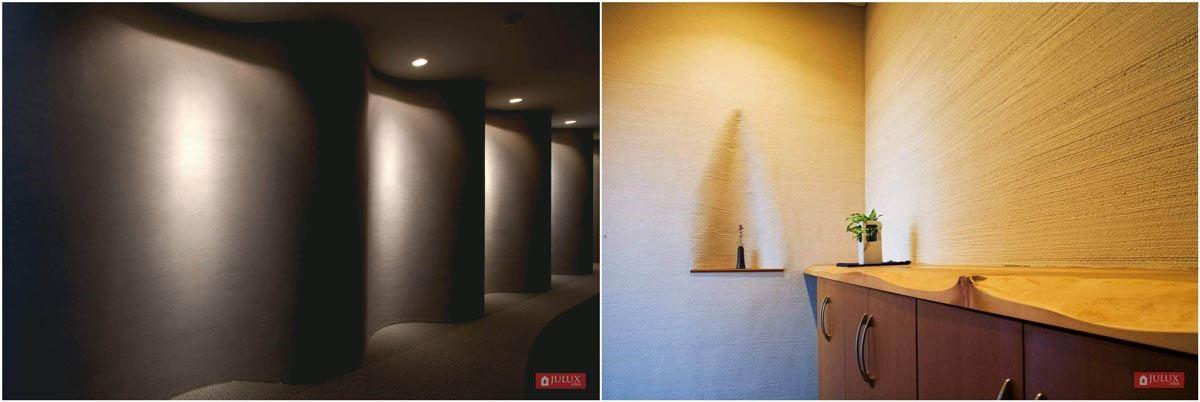 JULUX 居樂家功能型系列壁材珪藻土保留天然原始的粗獷自然紋理,展現鮮豔活潑色彩,讓空間展現出人文藝術質感。