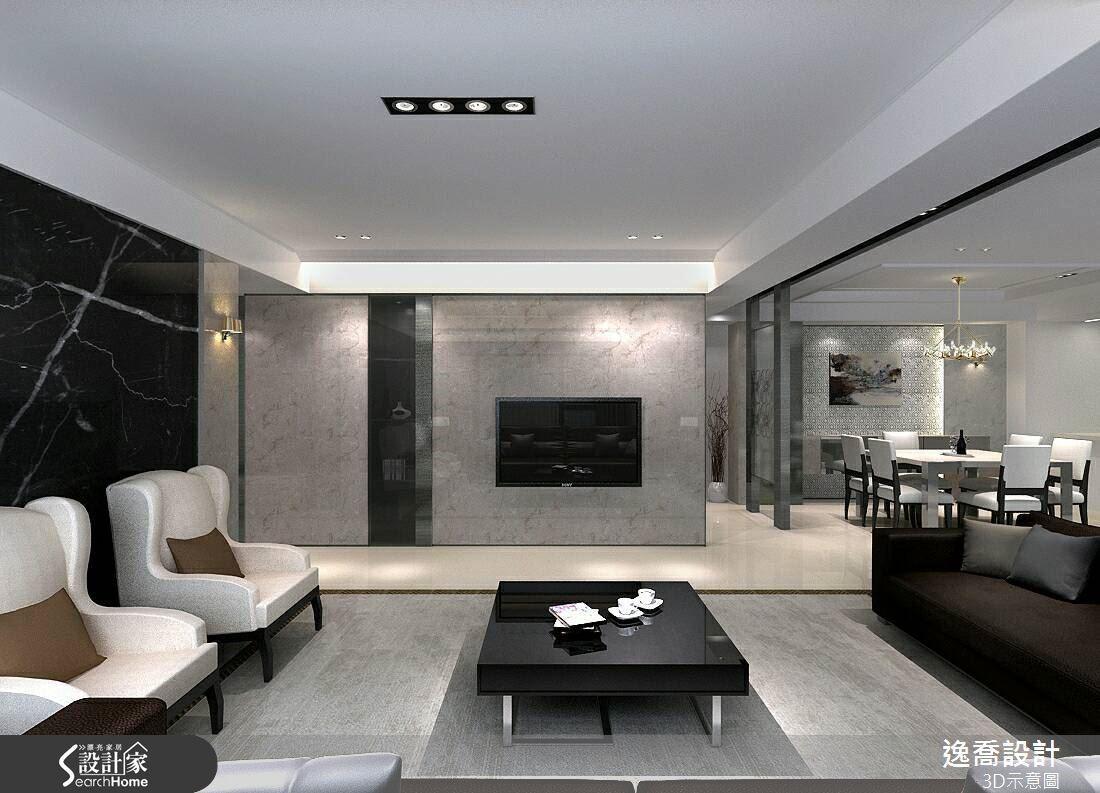 客廳電視主牆選用淺色大理石,在燈光映照下展現溫潤敦厚的特性。