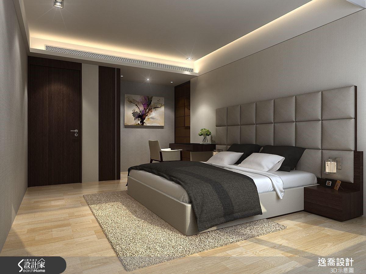 例如此間臥室的床頭背牆採用方格狀的繃布設計,營造出舒適的質感。