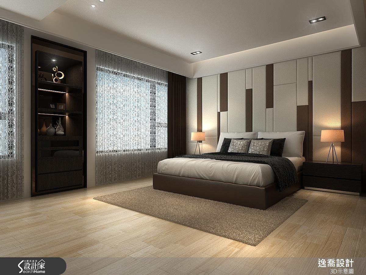 床頭背牆採用米色與棕色的跳色搭配,錯落有致的造型安排更增添動態美感。