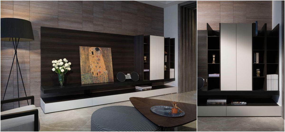 深色與白色木紋的電視櫃,櫃頂上故意不封天,使空間有無限向上的視覺感受,設計感與機能性十足。