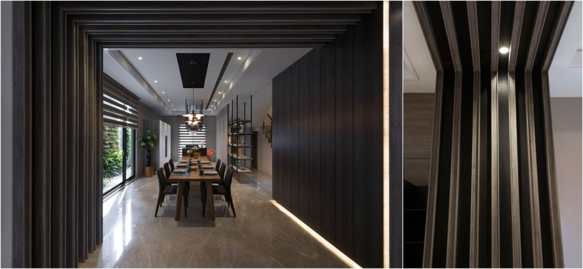 利用板材用色上的深淺差異與排列方式,創造格柵般的迴廊,將空間自然分離。巧妙地嵌入光源,降低視覺光感上的落差,猶如走入時光走廊。