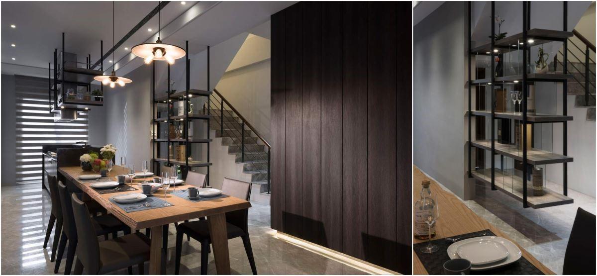 一長一短的鐵件吊櫃,彼此呼應,卻又不約而同地隔開了廚房、餐廳、梯間。材質上與色調上的整體感,怎麼看都不膩。