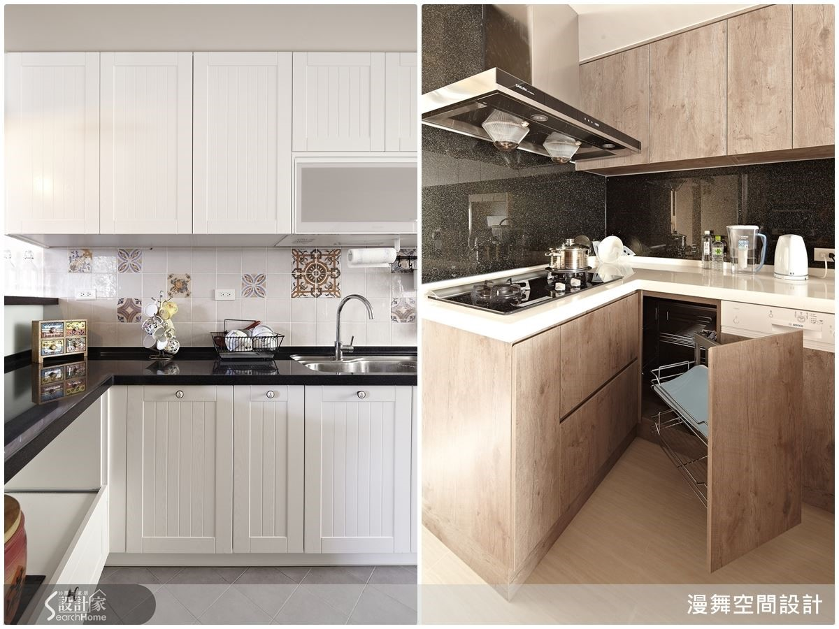 趁著年節前的除舊佈新,讓家中廚房也來個清爽變身!例如(左圖)以潔白鄉村風門片修飾廚具,再搭配馬賽克花磚,讓人眼睛為之一亮!(右圖)則是採用方便的抽屜五金來改進廚房收納機能,讓媽媽能夠更輕鬆省力準備全家人的年夜飯。