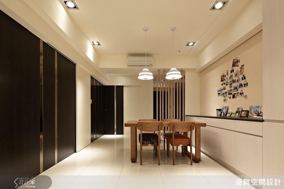 例如本案即達到「零走廊浪費」的目標,餐廳等於就是通往各房間的走廊,再加上視覺造型設計,不論是美感或機能,全部都兼顧了!
