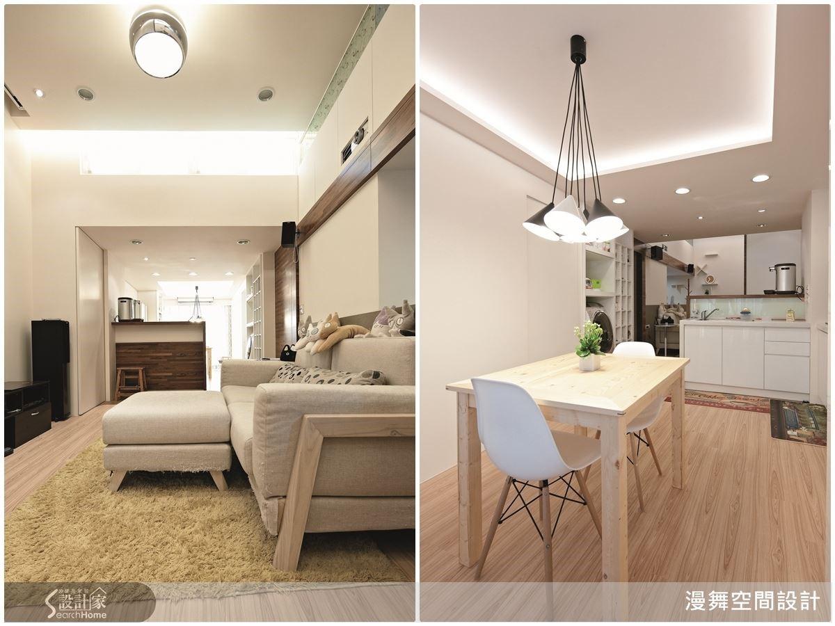 對於狹長的長向屋來說,吧檯也是界定空間層次的好幫手!尤其長向屋常有採光不均的問題,吧檯既能區隔層次,又可以維持採光效果呢!