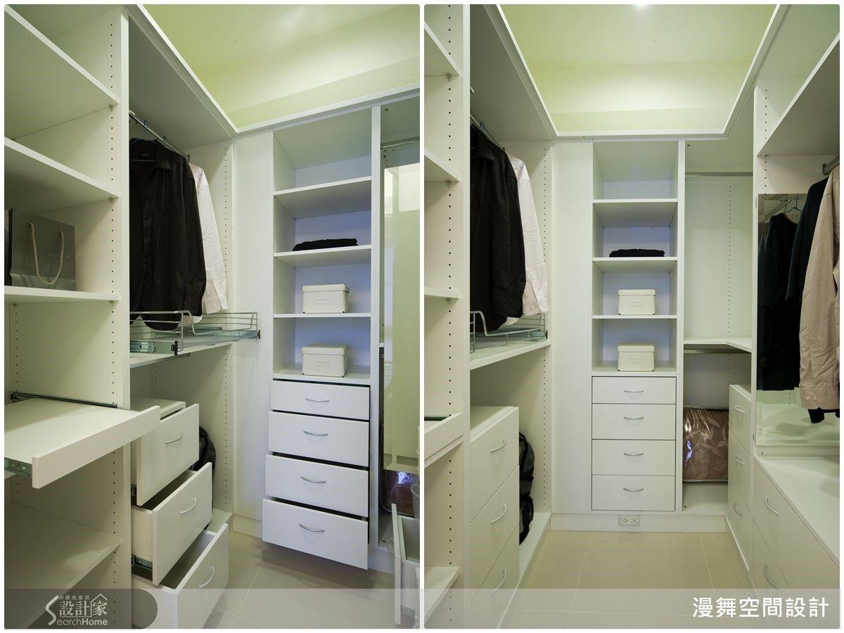 利用系統櫥櫃及各式收納五金,讓更衣室的小空間擁有超強機能!設計師還貼心的安排插座,想要放除濕機也完全沒問題哦!