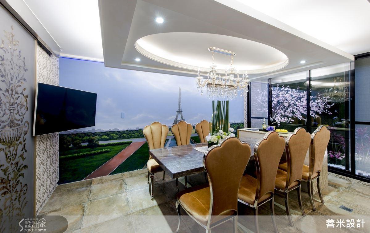 餐廳牆上的夜光畫作更嵌入光源,創造視覺享受外,更有助於用餐氣氛。
