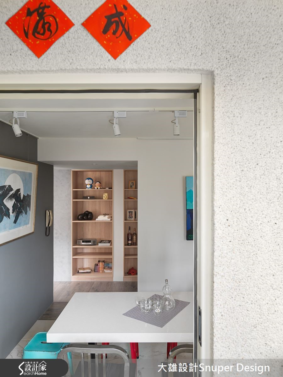 建築外牆的抿石子和室內現代人文的裝修相互對話,豐潤生活感官。
