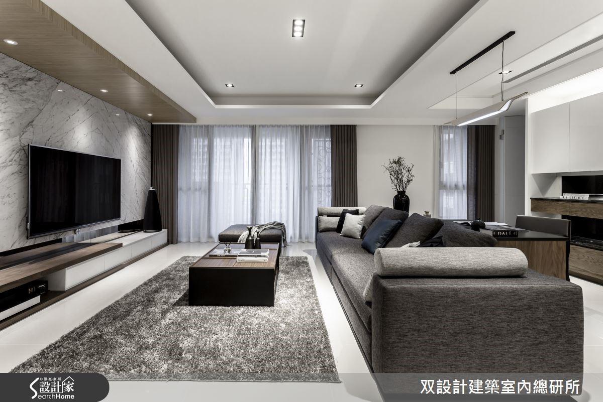 僅以黑、灰、白為主色調,透過色階的安排增加空間的豐富性,同時保留了低彩度的穩重,也展現了豐厚的層次感,簡單卻富有內涵。
