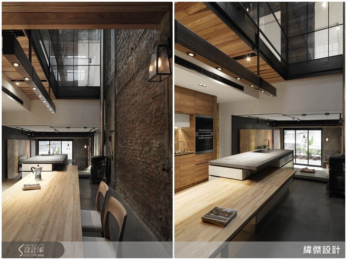 不加工的紅磚牆立面帶有粗獷卻細膩的情感表達,整體空間大量減少亮面材質使用,在具質樸感的自然建材,突顯平和且具人文感的空間氛圍。