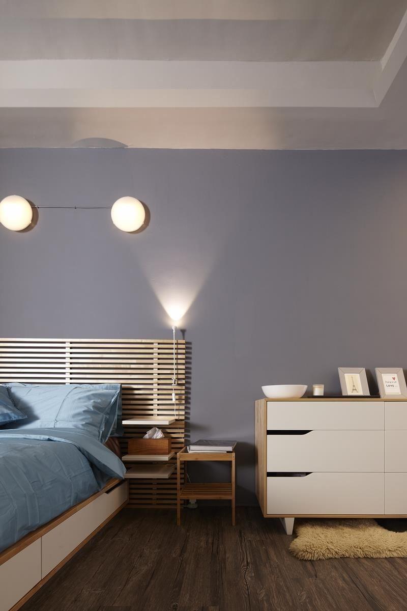 臥室裡的燈光不需要過於明亮,可運用壁燈與局部裝飾投射燈來增添氛圍,讓空間更為舒適,同時帶來浪漫的想像。